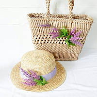 Соломенная сумка и шляпка Лаванда