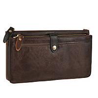 Оригинальный мужской кожаный клатч-борсетка коричневого цвета (00338)