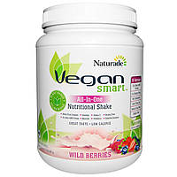 """Vegan Smart, """"Умный веган"""", питательный коктейль """"все водном"""", лесные ягоды, 22,8 унций (645 г)"""