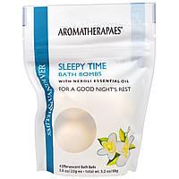 Aromatherapaes, Бомбочки для ванны перед сном с неролиевым эфирным маслом, 4 шипучих шарика для ванны по 0,8 унции (22 г)