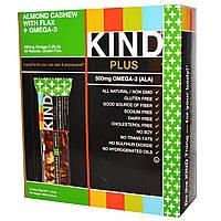 KIND Bars, Kind Plus, фруктовые батончики с орехами кешью, миндалем, со льном и кислотами ряда омега-3, 12 батончиков по 1,4 унции (40 г) каждый