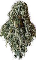 Маскировочная накидка на голову Гилли, джутовая нить. Расцветка сухая + зеленая трава.