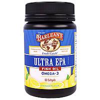 Barlean's, Ultra EPA, Triple Potency Omega-3, Lemonade Flavor, 1000 mg, 60 Softgels
