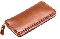 Стильный мужской кожаный клатч-портмоне рыжий (00344)
