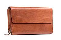 Шикарный мужской кожаный клатч-барсетка рыжего цвета (00345)
