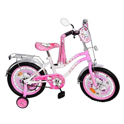 """Велосипед детский Hello Kitty (Хелло Китти) 18"""", черные колеса."""