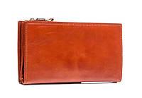 Мужской кожаный клатч-портмоне рыжего цвета (00346)