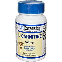 Life Extension, L-карнитин, 500 мг, 30 вегетарианских капсул