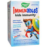Nature's Way, Immunables, детский иммунитет, порошок со вкусом ванили, 30 пакетиков, 1,5 г каждый