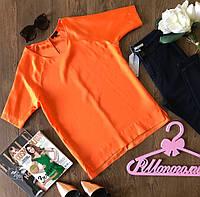 Харизматичный оранжевый топ из креп-шифона с рукавом-реглан  TS1472