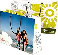 Бумажный пакет с логотипом из мелованной бумаги 300х400х120