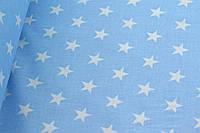 """Польская хлопковая ткань """"звезды белые на голубом"""""""