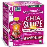 Mamma Chia, Органический сок чиа, энергетическая закуска, клубника-банан, 4 пластиковых бутылки, 3.5 унции (99 г) шт.