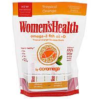 Coromega, Рыбьий жир Omega-3 для здоровья женщин + D, тропический апельсин, 30 доз, 2,5 г каждая