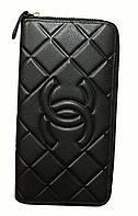"""Кошелек женский кожаный стильный черный """"Chanel ромбы"""" на молнии"""