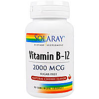 Solaray, Vitamin B-12, Natural Cherry Flavor, Sugar Free, 2000 mcg, 90 Sublingual LozengesOther