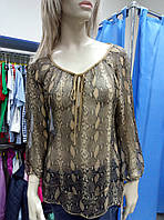 Блуза шелковая со змеиным принтом anyplace