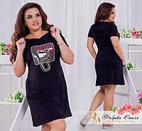 Платье двухнитка с аппликацией Большого размера