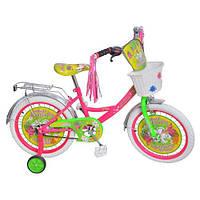 """Велосипед детский 18""""  Мисс Бабочка белые колеса (Miss Butterfly)."""