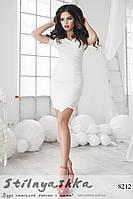 Летнее короткое асимметричное платье белое