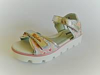 Босоножки для девочек на тракторной подошве с застежками липучками