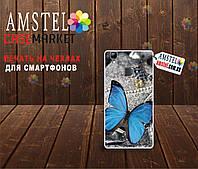 Оригинальный чехол панель накладка для Doogee X5 Max Pro с картинкой Синяя бабочка