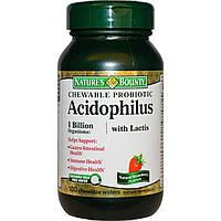 Nature's Bounty, Жевательный пробиотический ацидофилин с лактобактериями, натуральный вкус клубники, 100 жевательных пластинок