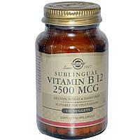 Solgar, Сублингвальный витамин В12, 2500 мкг, 120 наггетсов