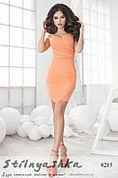 Летнее короткое асимметричное платье персик