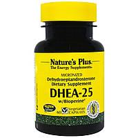 Nature's Plus, DHEA-25 с биоперином, 60 капсул на растительной основе