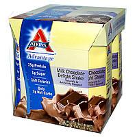Atkins, Advantage, молочный коктейль с шоколадом, 4 коктейля, 11 жидких унций (325 мл) каждый