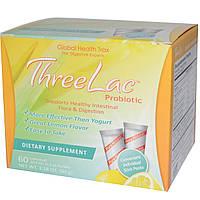 Global Health Trax, Пробиотик ThreeLac с лимонным вкусом, 60 пакетиков, 0,053 унции (1,5 г) каждый