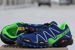 Крутые мужские кроссовки Solomon Speedcross 3 синие з салатовым,сетка 41,42, фото 2