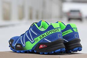 Крутые мужские кроссовки Solomon Speedcross 3 синие з салатовым,сетка 41,42, фото 3