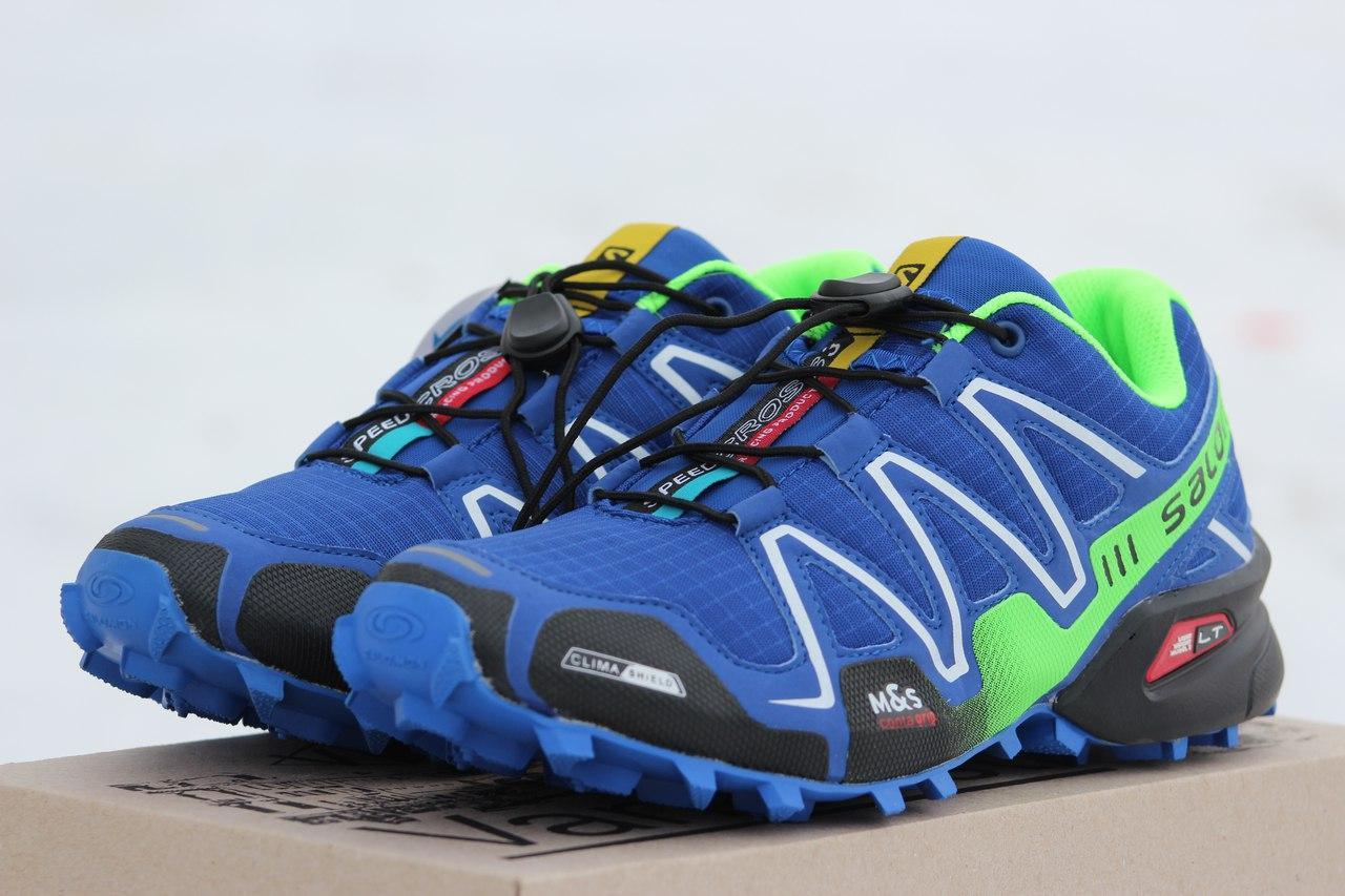 Крутые мужские кроссовки Solomon Speedcross 3 синие з салатовым,сетка 41,42