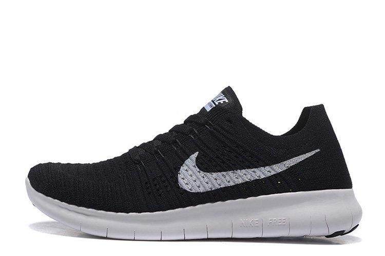 28e23288 Мужские беговые кроссовки Nike Free Run Flyknit Black White - Обувь и  одежда с доставкой по
