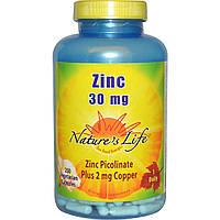 Nature's Life, Цинк, 30 мг, 250 растительных капсул