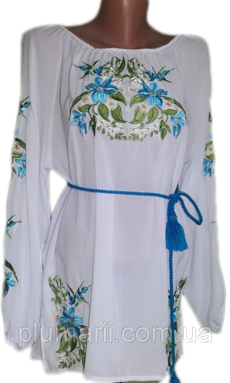 """Жіноча вишита сорочка (блузка) """"Яскраві лілії"""" (Женская вышитая рубашка (блузка) """"Яркие лилии"""") BN-0019"""