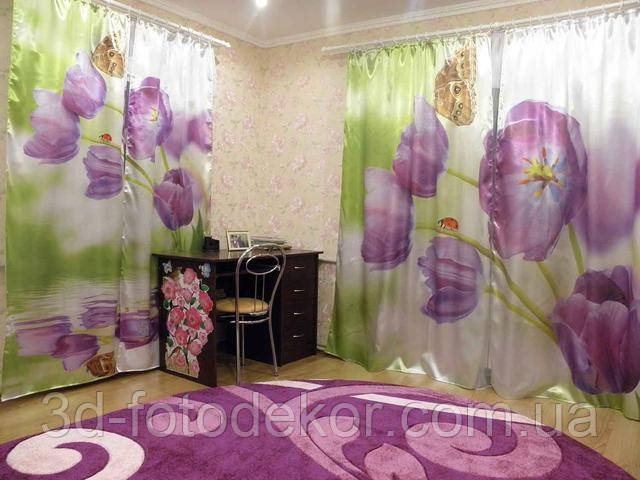 шторы с тюльпанами