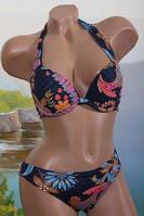 Женский купальник-халтер на пуш-ап в расцветках