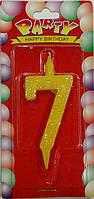 Свеча для торта цифра 7 цветная с блеском
