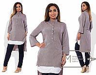 Удлинненая женская рубашка, принт серо- розовый 6147фм