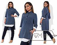 Удлинненая женская рубашка, принт сине-голубой 6148фм