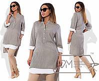 Удлинненая женская рубашка, принт серо-бежевый 6149фм