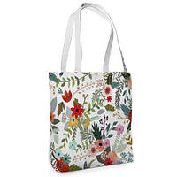 Большая белая сумка Нежность с принтом Цветы