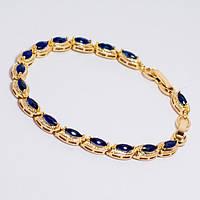Браслет золотистая цепочка с синими камнями