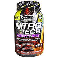 Muscletech, Nitro Tech, ночной протеин со вкусом молочного коктейля «Три шоколада» (907 г)