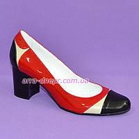 Женские кожаные туфли-лодочки на устойчивом каблуке, фото 1