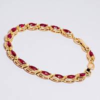 Браслет золотистая цепочка с красными камнями