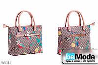Модная сумка женская L&L Deep khaki из экокожи с оригинальным принтом и металлическим декором серая